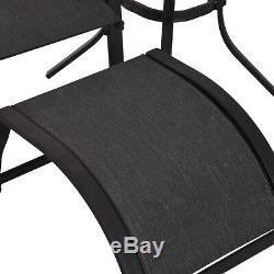 5 Pc Set Sun Lounger Chaise Repose-pied Réglable Table De Jardin Patio Recliner
