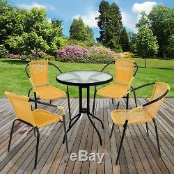5 Piece Bistro Set Garden Patio Tan Meubles En Rotin Et Osier Extérieur Table Chaises