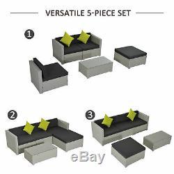 5 Pièces En Rotin Sofa Set Meubles En Osier Coussin En Coupe Gris Jardin