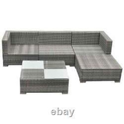 5 Pièces Poly Rattan Garden Corner Sofa Lounge Set Outdoor Patio Furniture Nouveau