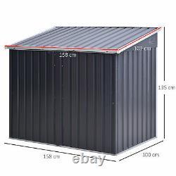 5ft X 3ft Jardin 2-bin En Acier Ondulé Couverture De Rangement Avec Fermeture De Portes Couvercle
