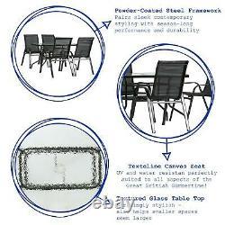 5pc Meubles De Jardin Ensemble Verre Haut Extérieur Bistro Chaise De Table 120x70cm Noir