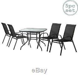 5pc Meubles De Jardin Glass Set Top Outdoor Patio Café Bistro Table Chaise Noir