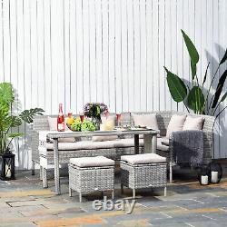 5pcs Rattan Ensemble À Manger Avec Canapé, Table Basse Footstool Meubles De Jardin