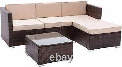 5pcs Rattan Garden Meubles Extérieurs Patio Sofa Ensemble Chaises Avec Table En Verre