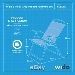 6 Pièce Gris Jardin Extérieur Été Patio Furniture Table Chaise Parasol Set Wido