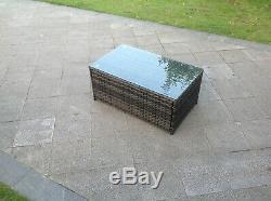 6 Places Canapé D'angle En Rotin 2 Tables Basses Meubles De Patio Jardin Extérieur Gris