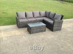 6 Seater Rotin Canapé D'angle Ensemble Table Basse Salon De Jardin En Plein Air Gris Mixte