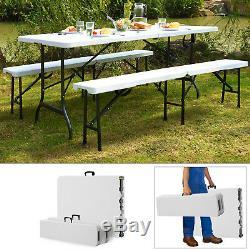 6ft Table Pliante Tréteau Banc Camping Pique-nique Bbq Party Jardin Set Heavy Duty