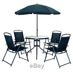 6pc Jardin Meubles De Terrasse Portier Noir 4 Seater Grand Table Ronde Parasol