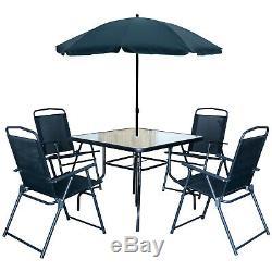 6pc Meubles De Jardin Équerre De Table En Verre Et 4 Chaises Pliantes Et Parasol Tilting