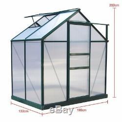 6x4ft À Effet De Serre En Aluminium Polycarbonte Jardin Avec Base En Métal Uv Safe Double Mur