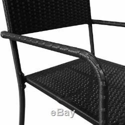 7 Piece Salon Extérieur Ensemble Poly Rotin Jardin Patio Table Chaise Meubles Noir