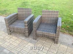 7 Seater Rattan Sofa Set Chair Table Basse Table Footstool Meubles De Jardin Extérieurs