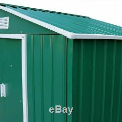 7 X 4.2ft Vert Metal Acier Jardin Hangar Extérieur Panneau Outil De Stockage Fenêtre Wido