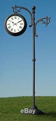 73 Thermomètre D'horloge Sur Piédestal En Métal Pour L'extérieur! Baromètre Jardin Décor Plantes De Jardin
