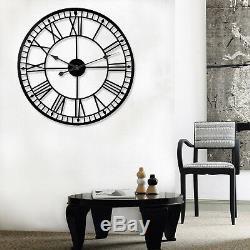 78cm Grand Mur Métal Roman Noir Horloge Squelette De Fer Numerals Jardin Extérieur