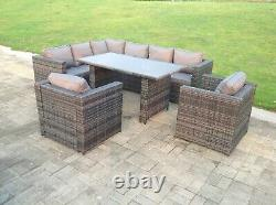 8 Places Rattan Garden Sofa Dining Table Set Chairs Outdoor Furniture Grey Patio