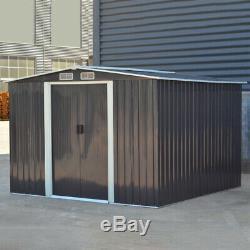 8 X 8 Pi Heavy Duty Remise De Jardin Apex Toit En Métal Galvanisé Steel House Gris Foncé