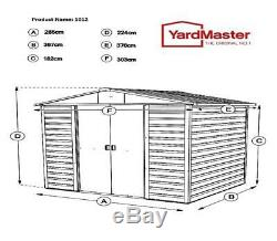 802 Yardmaster Feuillure Shed De Jardin En Métal Dimensions Extérieures Max 9'11x 12'4