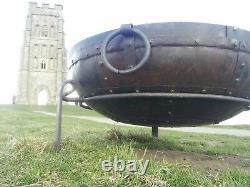 80cm Indian Fire Pit Avec Stand & Grill Garden Bowl Kadai Grand Fer Forgé