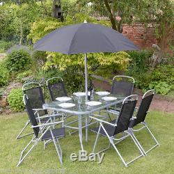 8pc Jardin Meubles Ensemble 6 Sièges Salle À Manger Parasol Table Et Chaises Nouveau