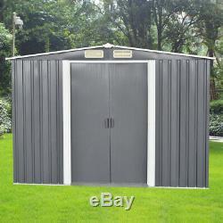 8x6 De Jardin En Métal Shed Stockage Maison Apex Toit Porte Coulissante Avec Free Base