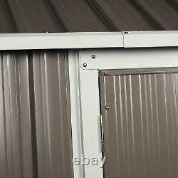 8x6 Ft Couverture De Rangement De Jardin En Métal Ondulé Avec 2 Portes Fenêtre En Pente Toit Gris