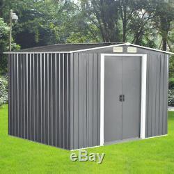 8x6ft De Jardin En Métal Shed Stockage 2 Portes Apex Toit Fondation Free Base Outdoor Uk