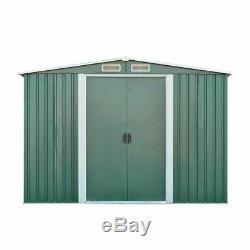 8x6ft De Jardin En Métal Shed Stockage Maison Apex Toit Porte Coulissante Avec Free Base B
