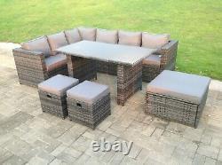 9 Seater Rattan Corner Sofa Garden Furniture Dining Table Set Footstools Gris