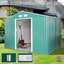 9x6 Grand Jardin Shed Métal Apex Toit Extérieur De Stockage Avec Free Green Foundation