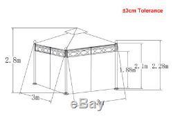Abri Abri Soleil Chapiteau 3x3m Métal Gazebo Pavillon De Jardin Tente De Jardin Chapiteau Greenbay