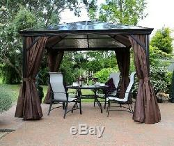 Abri De Jardin En Plein Air Gazebo Structure Canopy Tente Rideau Pergola Bain À Remous Sur Le Toit