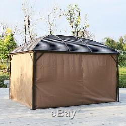 Abri De Tente De Jardin De Cadre En Aluminium De Belvédère De Hardtop Avec Le Rideau 398x298cm