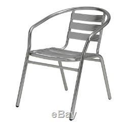 Aluminium Argent Patio Bistro Café Set De Table Chaises De Jardin Piscine Extérieure Argent