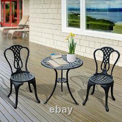Aluminium Cafe Bistro Set Meubles De Jardin Table Et Chaise 3pc Patio Cast Noir