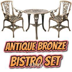 Antique Bronze Effet Table De Jardin Et Chaises Bistro Set Imperméable 3 Pièce