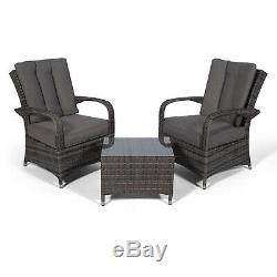 Arizona 2 Seat Rotin Lounge Chair & Table Patio Meubles De Jardin Ensemble Avec Couvercle