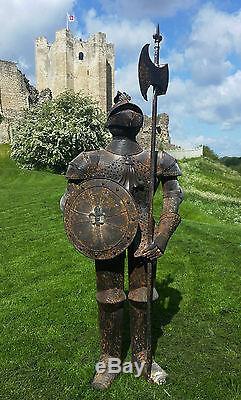 Armure Rusty Chevalier Statue De Jardin En Métal, Style Rustique Guerre Médiévale