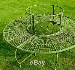 Assise Circulaire De Jardin De Banc D'arbre Antique Peinture Verte Vieilli De Style Vintage