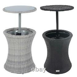 Azuma Ibiza Boissons Cooler Table De Jardin Avec La Table En Verre Top Effet De Rotin Noir