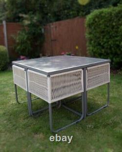 B Grade Seconds Garden Dining Furniture Outdoor Patio Cube Set Grey
