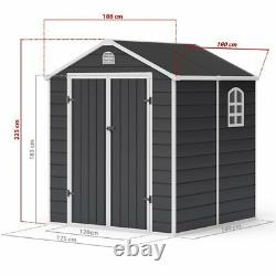 Billyoh Ashford Outdoor Plastic Garden Storage Shed Apex Grey Inc Kit Fondation