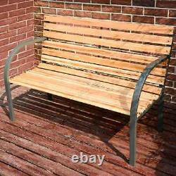 Birchtree Bois Slatted Metal Frame Garden Bench 2 Seater Outdoor Patio Park Seat