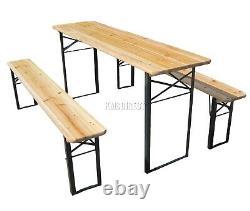 Birchtree Extérieur En Bois Pliant Banquette De Table De Table Trestle Garden Pied En Acier