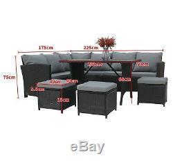Birchtree Jardin Meubles En Rotin Set Sofa Repose-pieds De Table En Verre 9 Siège Patio 04