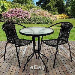 Bistro En Osier Noir Sets De Table Chaise Patio Mobilier De Jardin Diner Accueil