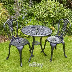 Bistro Noir Set Garden Patio Mobilier D'extérieur Table Et 2 Chaises Cadre En Métal