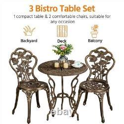Bistro Set 3pcs Patio Table Et Chaises Aluminium Garden Furniture Set Outdoor